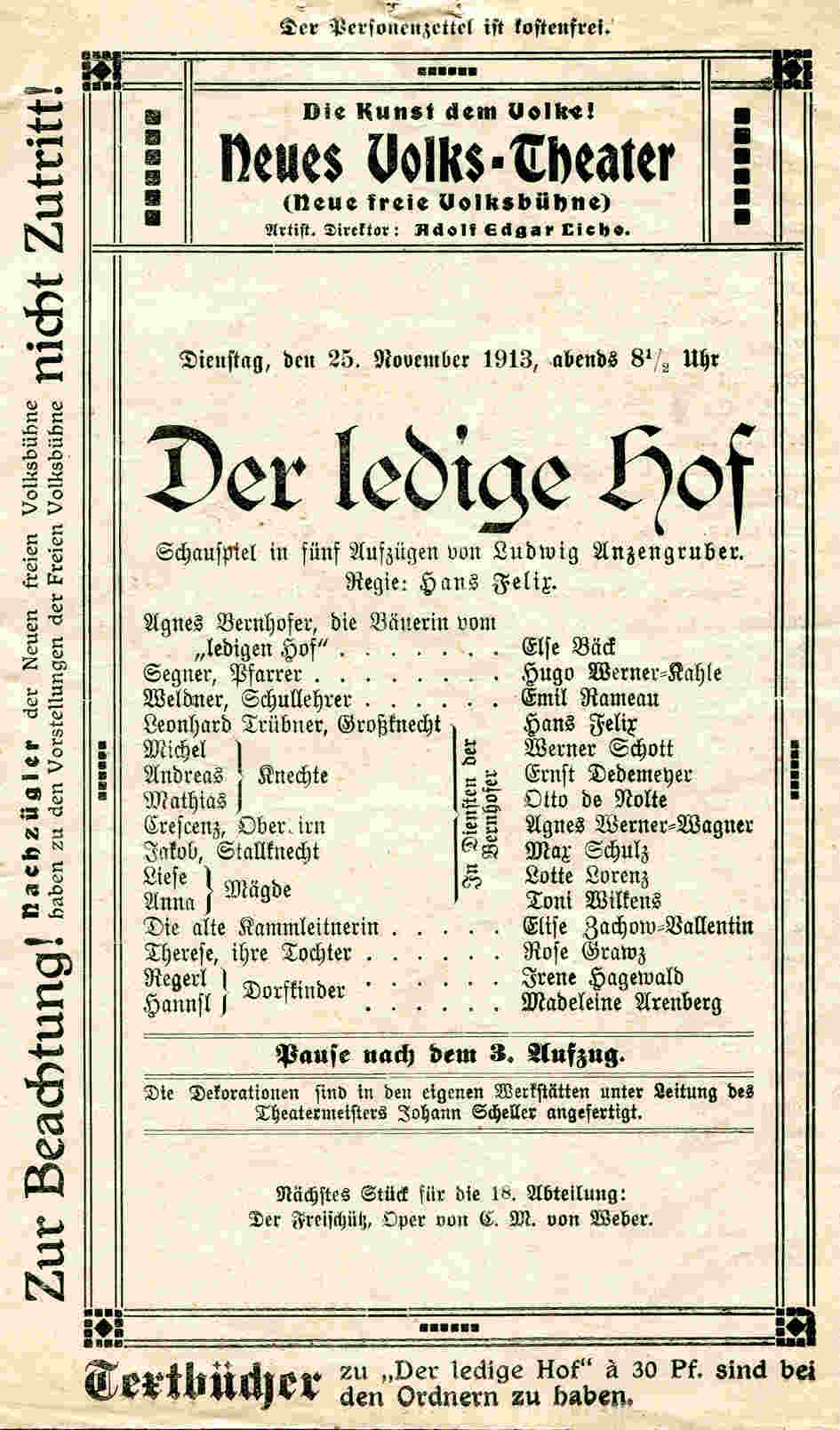 Programmheft Volks Theater 1913
