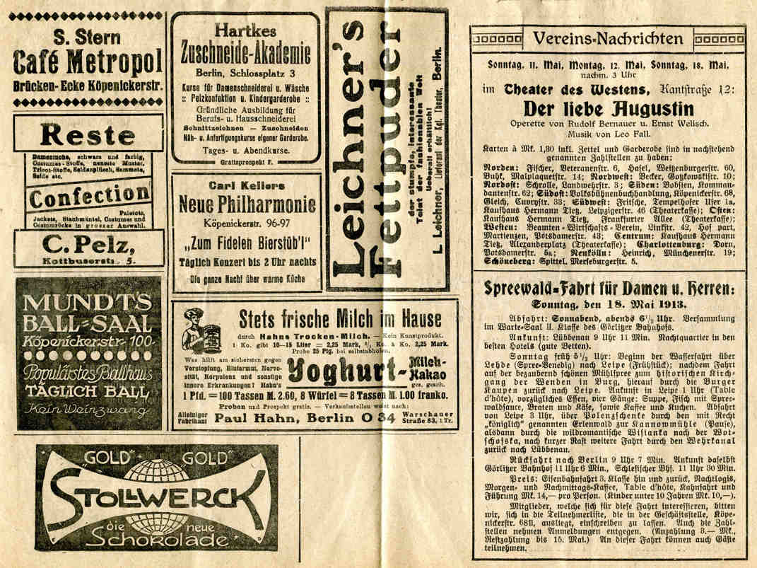 Programm Neues Volks-Theater 1913